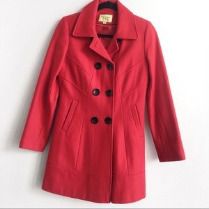Red Wool Peacoat Jacket Double Breasted Coat Small